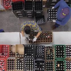 Produktion der Bier-Adventkalender aus der Vogelperspektive